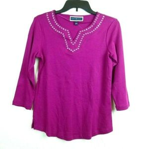 Karen Scott Top XS Purple Cranberry Split V-neck